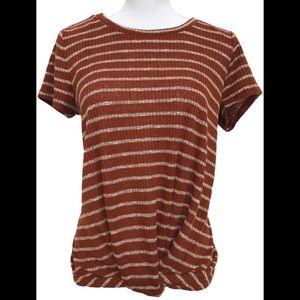LUXOLOGY drapey front- knot top . Rust orange